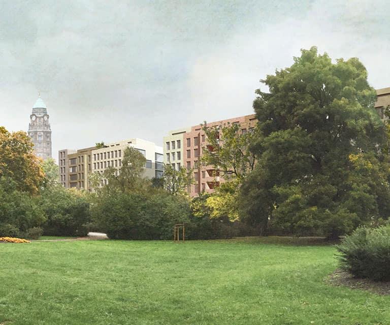 Lingner Altstadtgarten, Entwurf Wohnbebauung, Visualisierung © Peter Kulka Architektur